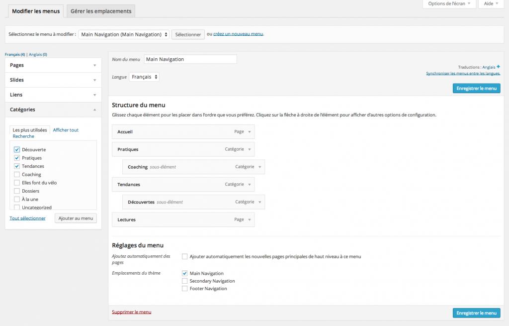 Créer et gérer ses menus sous WordPress