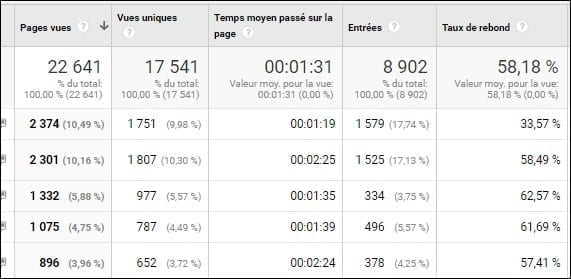 Pages vues Google Analytics
